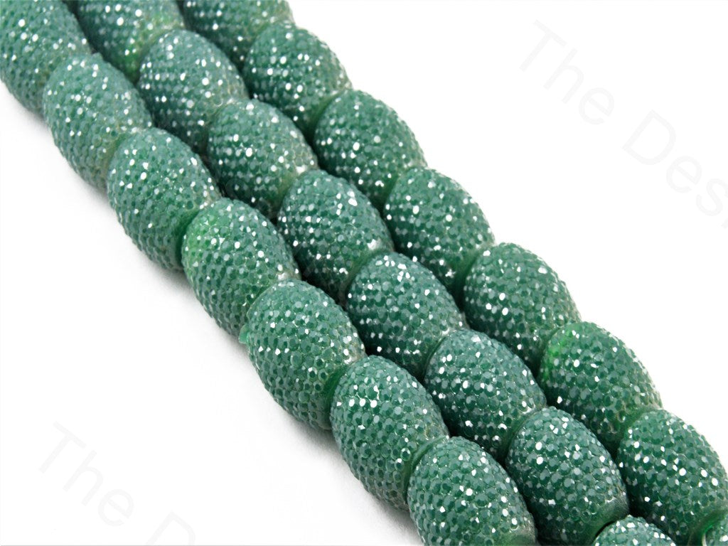 Dark Green Opaque Oval Resin Sugar Beads
