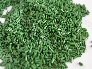Opaque Green Pipe / Bugle Glass Beads