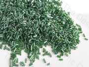 Transparent Luster Green Pipe / Bugle Glass Beads