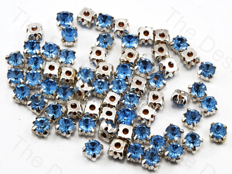 Sapphire / Light Blue Round Glass Stones with Hook (11393959123)