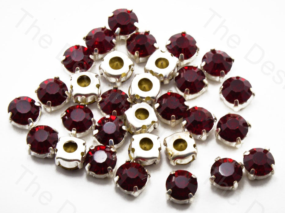 Maroon Round Glass Stones with Hook