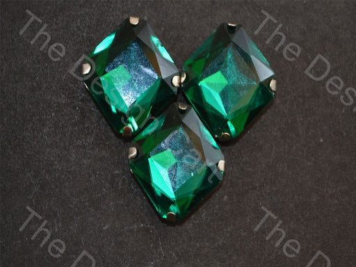 Green Square Glass Stones with Catcher