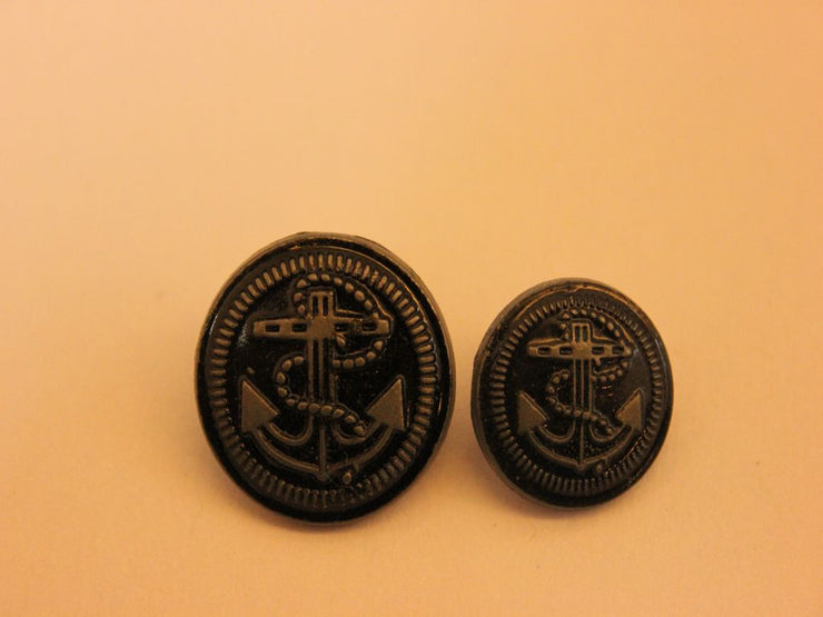 Black Anchor Circular Metal Button (4537450201157)