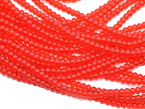Red Round Pressed Glass Beads Strings