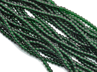 Dark Green Round Pressed Glass Beads Strings