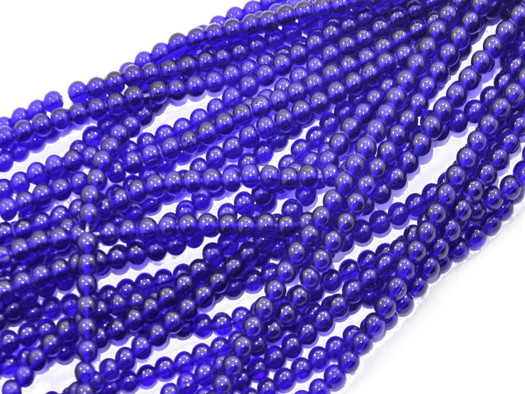 Blue Round Pressed Glass Beads Strings (434687836194)