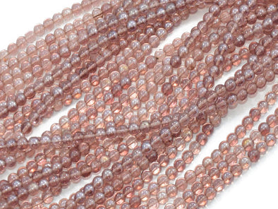 Light Brown Round Pressed Glass Beads Strings