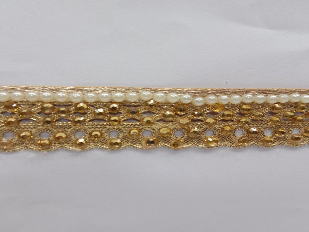 Antique Golden Stone and Pearl Work Embroidered Border