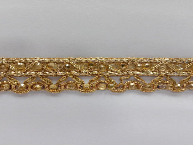 Antique Gold Stone Gota Work Embroidered Border