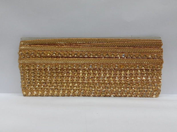 Antique Golden Fancy Sequins and Stone Work Embroidered Border
