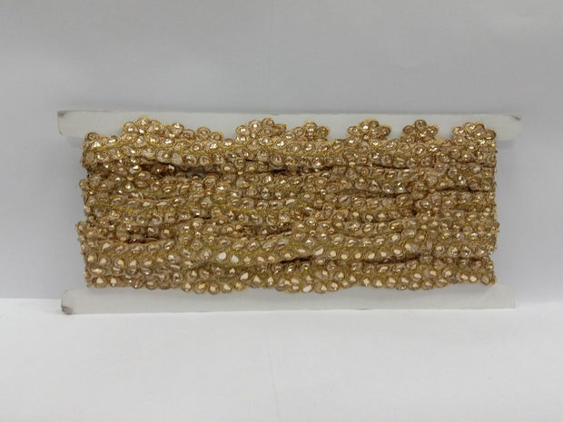 Antique Golden Stone Work Dupion Embroidered Border