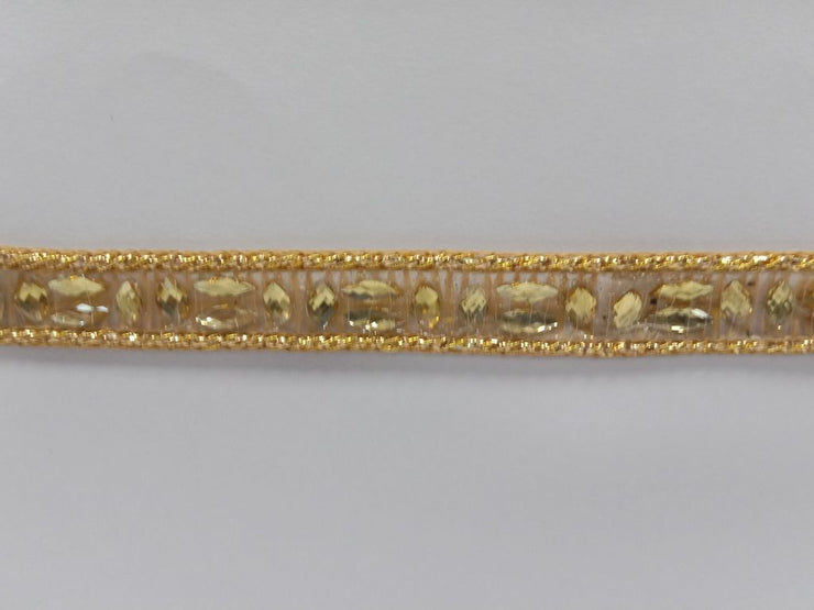 Antique Golden Fancy Stone Work Embroidered Border