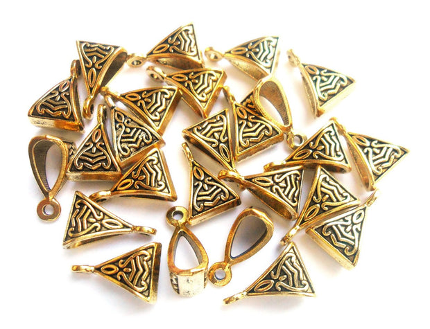 Antique Golden German Silver Triangular Charms | The Design Cart (4365531217989)