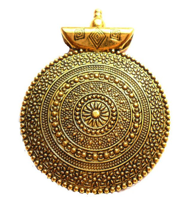 Antique Golden Circular Pendant (45 mm)