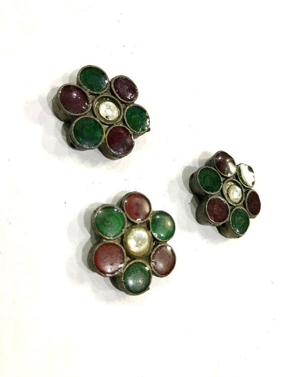 Antique Metal Flower With Jaipuri Red and Green Enamel