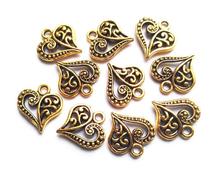 Antique Golden Designer Leaf Metal Charms (4530818252869)