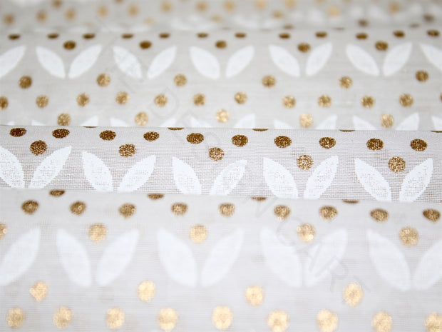 White Golden Polka Dots Khadi Printed Polyester Chanderi Fabric | The Design Cart