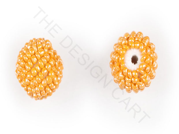Orange Woven Beaded Beads | The Design Cart
