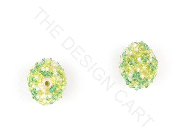 Green Woven Beaded Beads | The Design Cart
