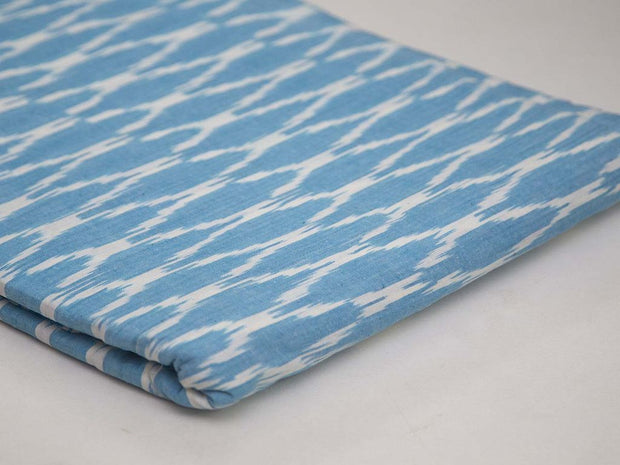 Blue Chevron Cotton Ikat Fabric (4573278404677)