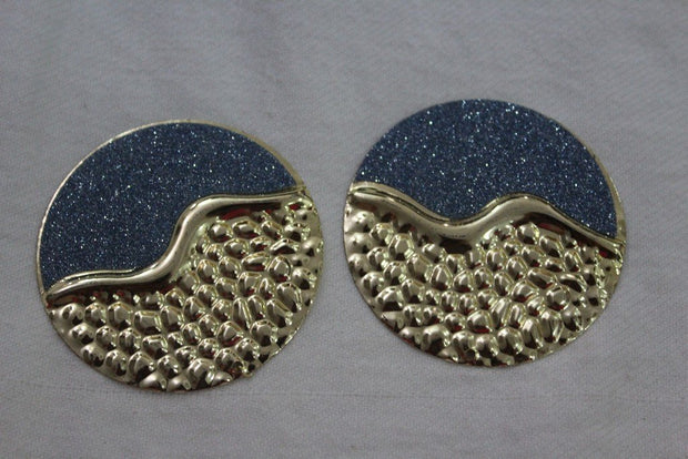 Blue Golden Designer Metal Brooch