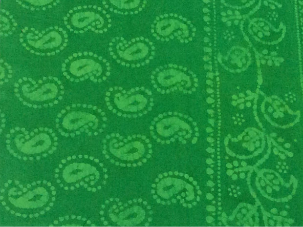 Green Paisleys Batik Print Cotton Fabric | The Design Cart (4200481456197)