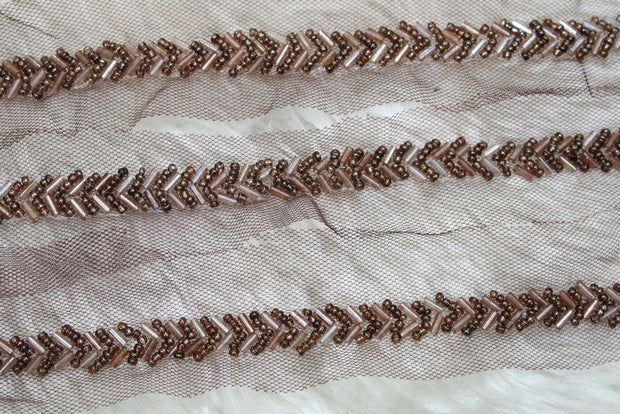 Brown Embellished Hand Beads Work Embroidered Lace