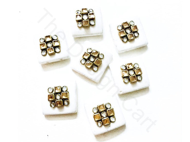 White Square Kundan Buttons | The Design Cart (3751405715490)