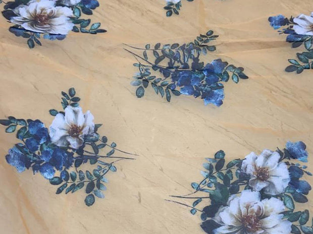 Beige Blue Flowers Printed Organza Fabric