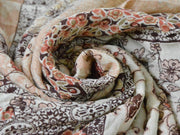 Beige Brown Abstract Flowers Digital Printed Crinkled Viscose Crepe Fabric