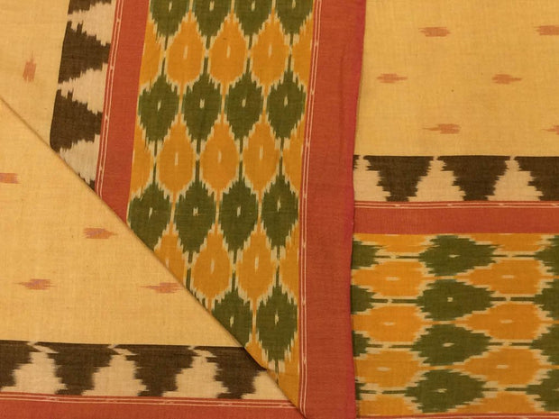 Beige Designer Pure Cotton Fabric with Ikat Border