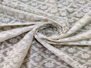 Beige Floral Chikan Embroidered Georgette Fabric