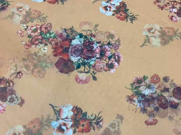 Beige Multicolour Flowers Printed Organza Fabric