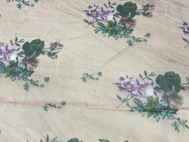 Beige Purple Flowers Printed Organza Fabric