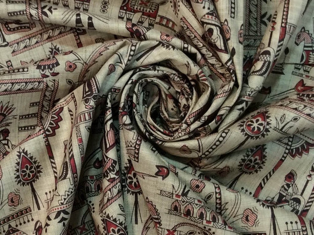 Beige Red Black Kalamkari Printed Khadi Fabric