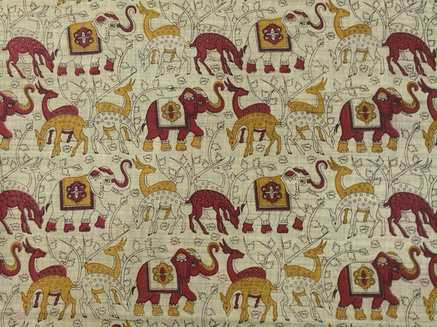 Beige Red Yellow Animals Kalamkari Printed Khadi Fabric