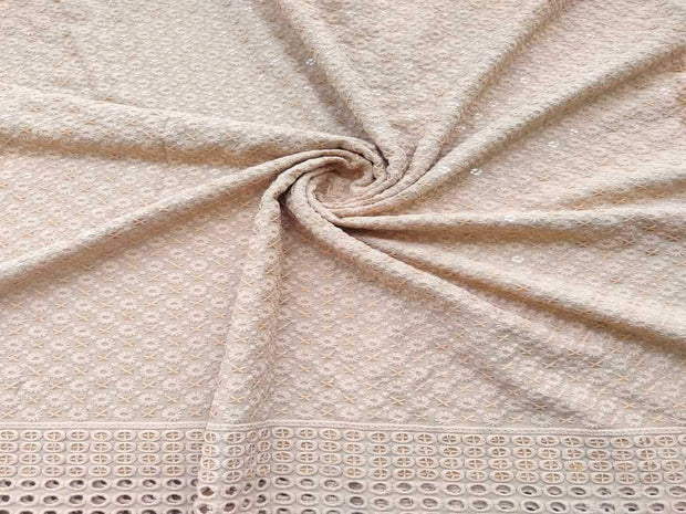 Beige Floral Chikankari Embroidered Rayon Fabric with Schiffli Border