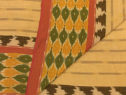 Beige Stripes Designer Pure Cotton Fabric with Green Ikat Border