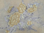 Beige Yellow Flowers Embroidered Cotton Jute Fabric