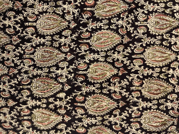Black Floral Kalamkari Printed Cotton Fabric