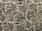 Beige Black Gray Flowers Kalamkari Printed Cotton Fabric