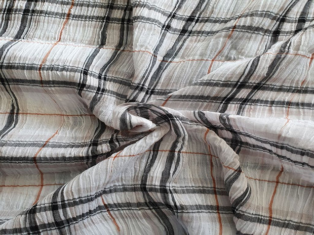Black And White Crepe Checks Cotton Fabric | The Design Cart