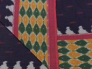 Black Designer Pure Cotton Fabric with Green Ikat Border