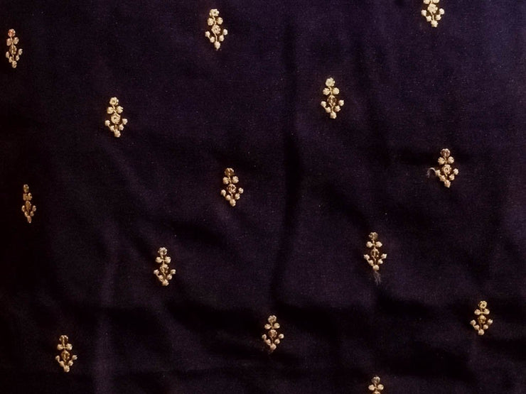 Black Floral Embroidered Monga Silk Fabric (4568118952005)