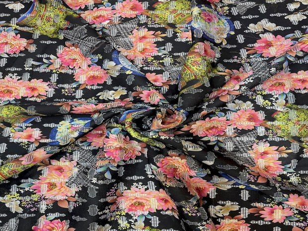 Black Pink Floral Cutwork Printed Scuba Lycra Fabric