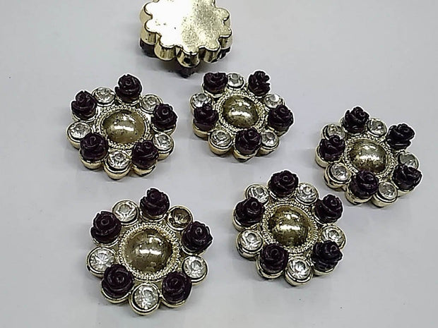 Black Flower Plastic Stone with Resin Flowers and Glass Stones- 32 mm