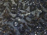 Black Flowers Shimmer and Sequins Embroidered Lycra Fabric