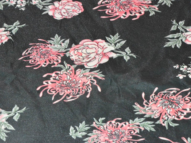 Black Pink Flowers Digital Printed Satin Fabric