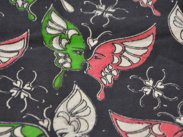 Black Pink Green Butterflies Kalamkari Printed Cotton Fabric
