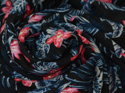 Black Red Flowers Crinkled Digital Printed Viscose Crepe Fabric